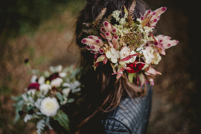 Statement floral crown made with pink wild flowers.