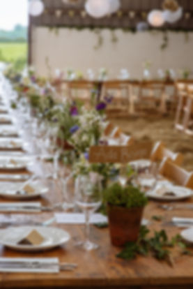 wild flower and potted herb wedding decore