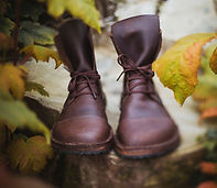 Brown boots sitting on a log with autumn leaves around them