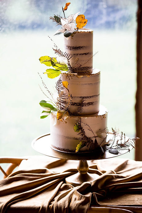 Autumn themed 3 tier, semi naked wedding cake