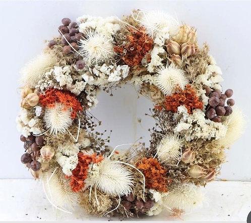 Dried Flower Wreath-White/Terracotta