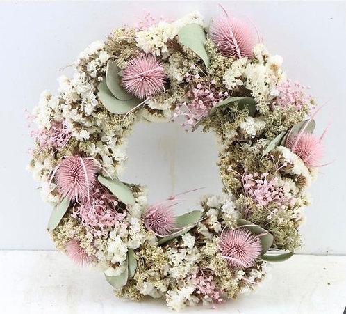 Dried Flower Wreath- Pink