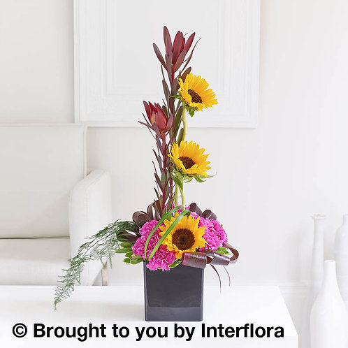 Retro Sunflower and Leucodendron Arrangement