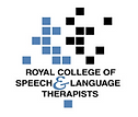 """""""Royal College of Speech and Language Therapists"""" Blue and black writing with white background"""
