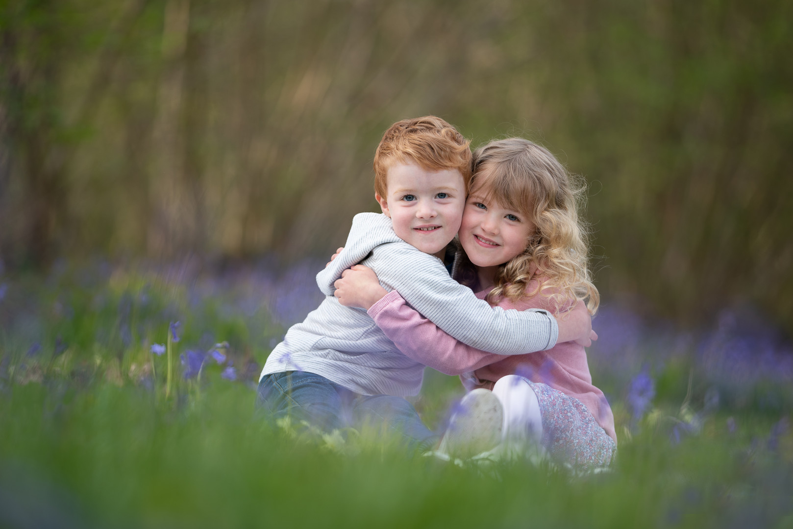 Children in bluebells by Somerset family