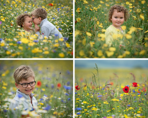 Photographs of children among Stogumber wildflowers, by Somerset family photographer Sarah Gibson