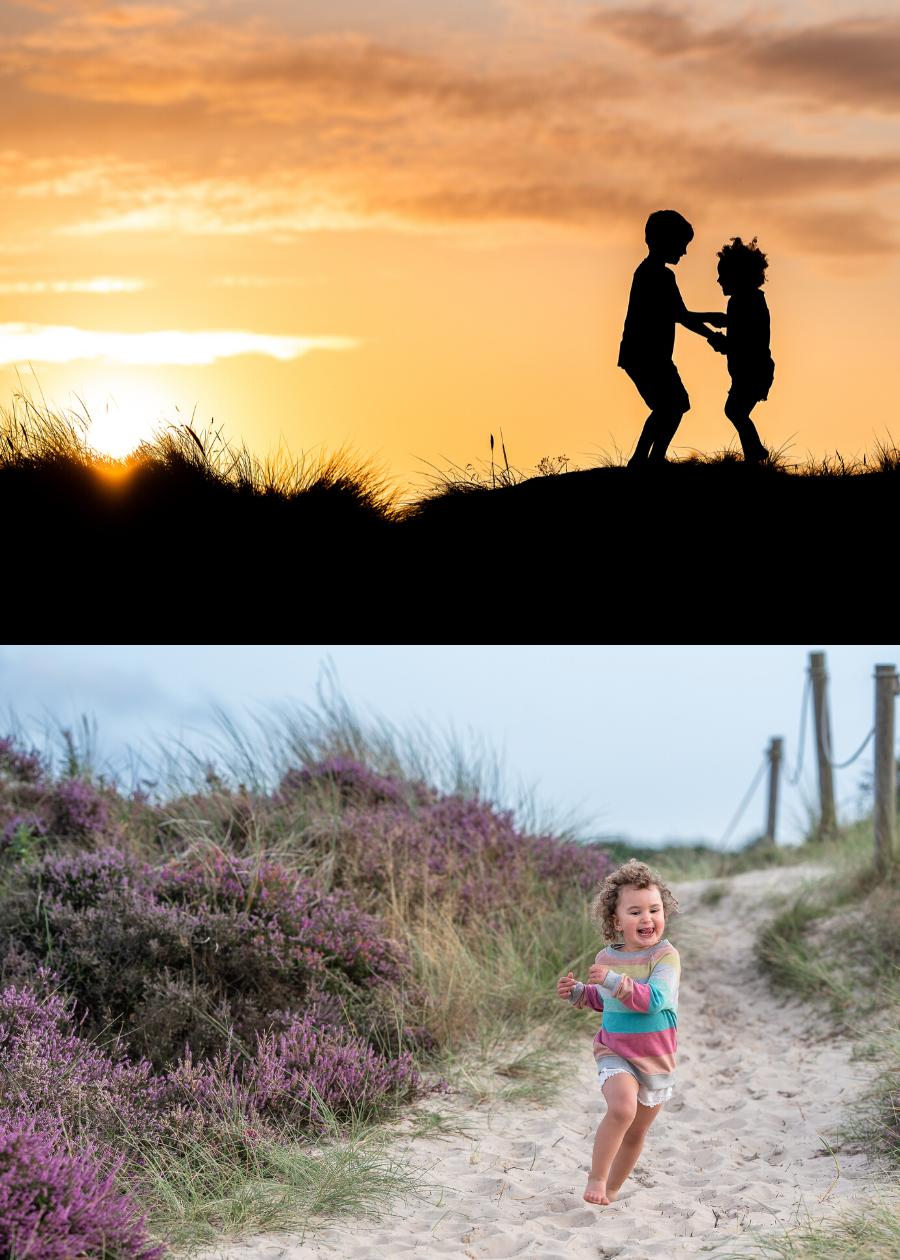 Children playing on Studland Beach, Dorset. By Somerset family photographer Sarah Gibson.