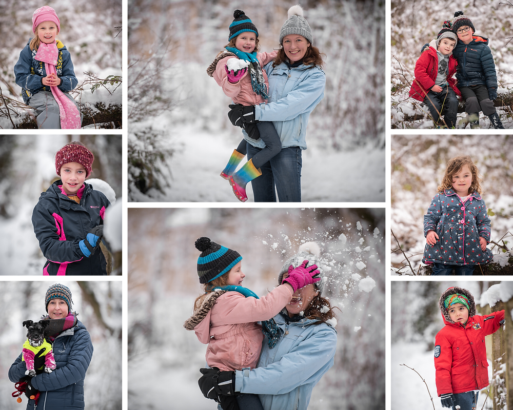 Photographs of families playing in the snow, by Somerset family photographer Sarah Gibson