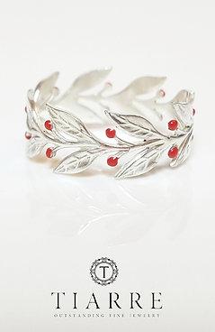 Inel din argint cu frunze