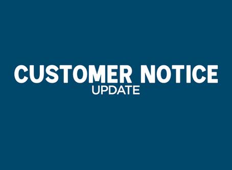 Customer Notice Update - Opening Hours