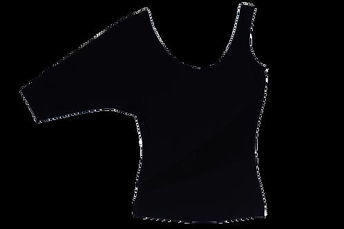 VERSACE asymmetric and see through black top