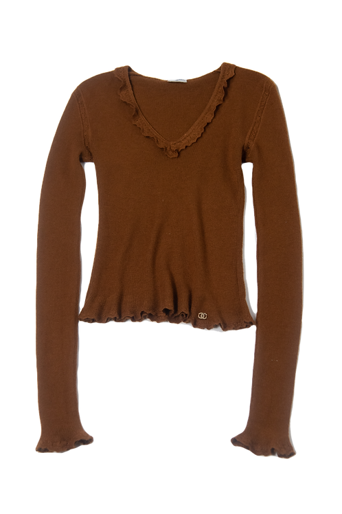 CHANEL brown cashmere sweater