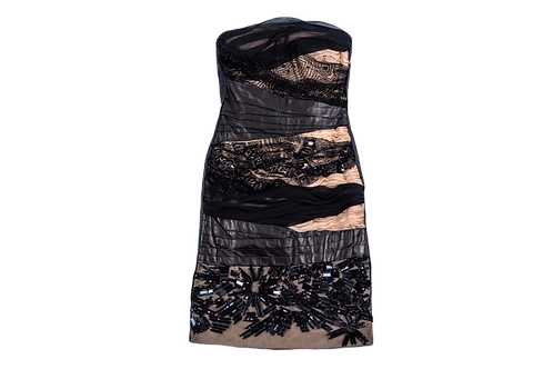 VALENTINO leather and crystals dress