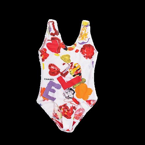 CHANEL 1990 flower swimsuit