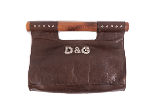 DOLCE&GABBANA leather and wood bag