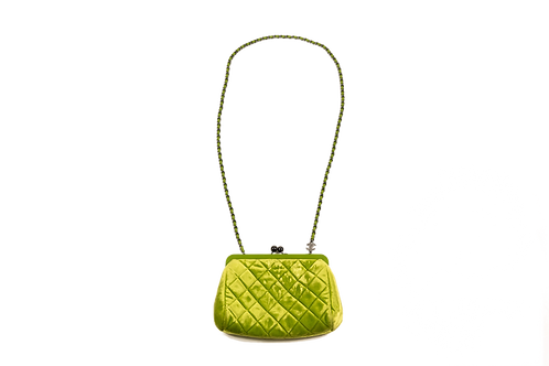 CHANEL green velvet bag