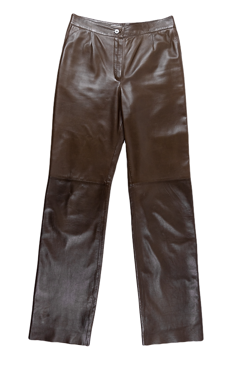VALENTINO brown leather pants