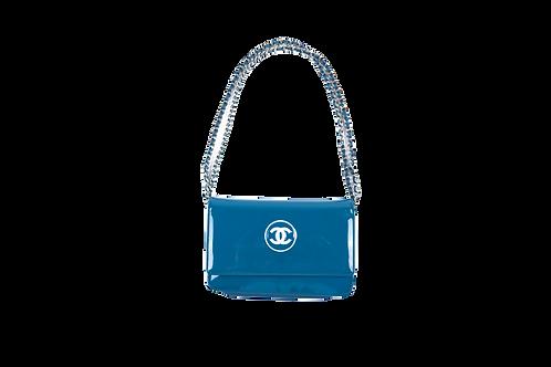 CHANEL blue wallet bag