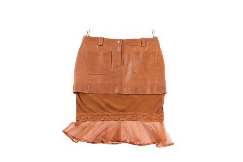 DIOR leather and silk skirt