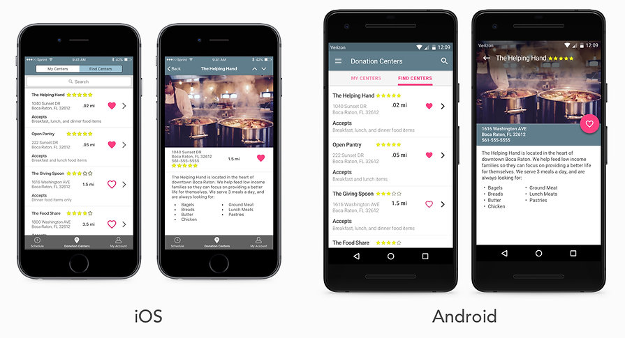Two examples of visual design for the Meal Connector app. One set shows the Find Centers and Donation Center detail page for iOS, and the second set shows the same screens, but designed for Android.