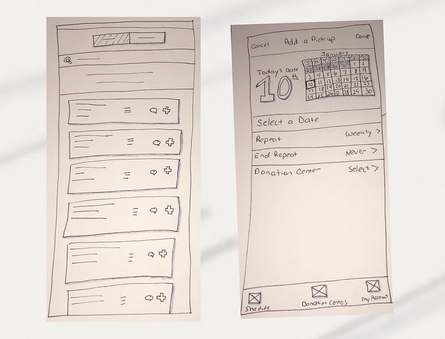 Hand-drawn sketch of a tabbed interface with placeholder content and the aility to search. A second screen shows a calendar and controls to schedule a food pick-up.