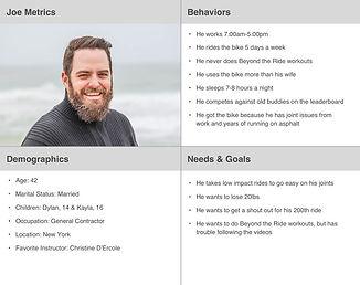 Joe Metric's persona, highlighting her behaviors, demographic, and needs & goals