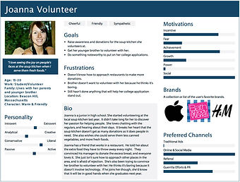 Joanna Volunteer's persona displaying her personality metrics, goals, frutrations, motivations, favorite brands, and a biography