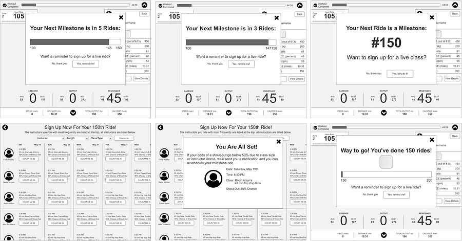 Examples of wireframes depicting what the workflow could look like