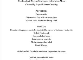 """Woodlands & Wagons...A Centennial Celebration!"" taste bud teaser event menu.  The eve"