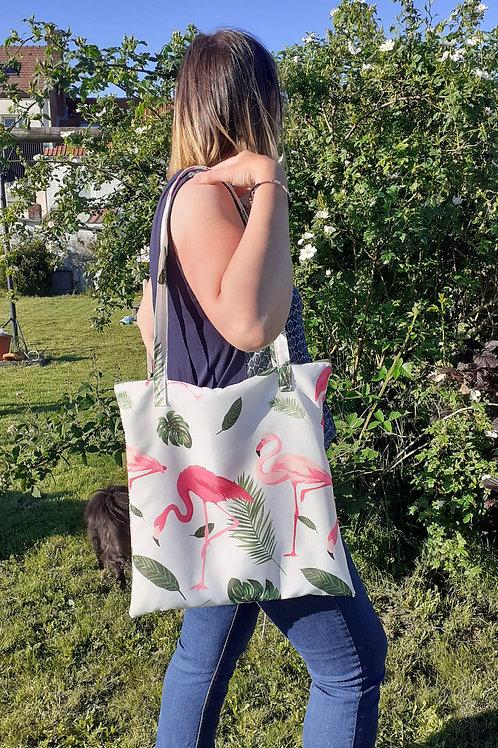 Grand sac fourre-tout zippé motif flamands roses
