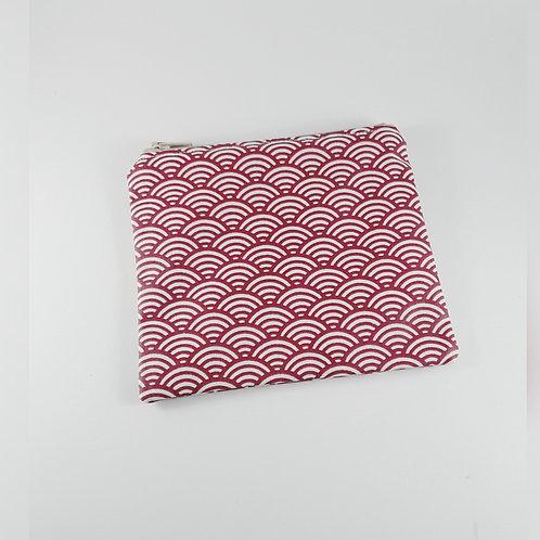 Porte monnaie toile enduite / petite trousse zippée motif japonais rouge