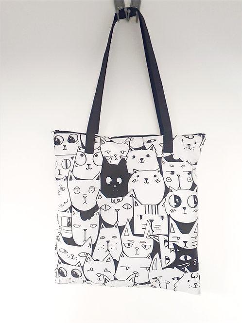 grand sac fourre-tout zippé chats