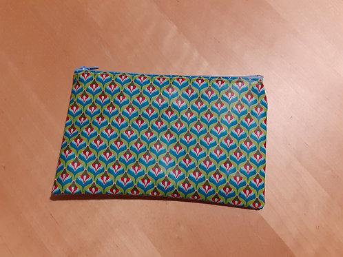 grande pochette zippée en toile enduite vert canard