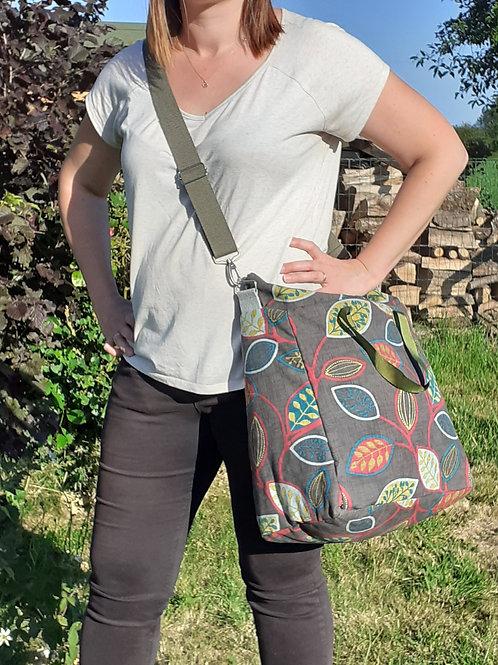 sac cabas zippé motif nature, feuilles avec lanière amovible icle