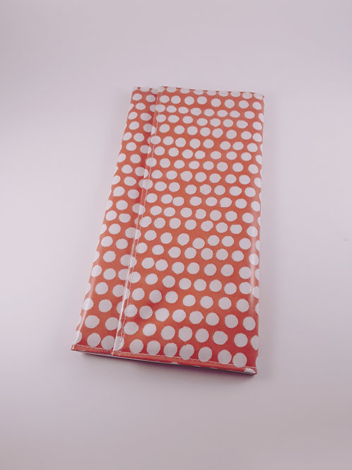 Grande pochette Carte vitale en toile enduite orange à pois (range ordonnance)