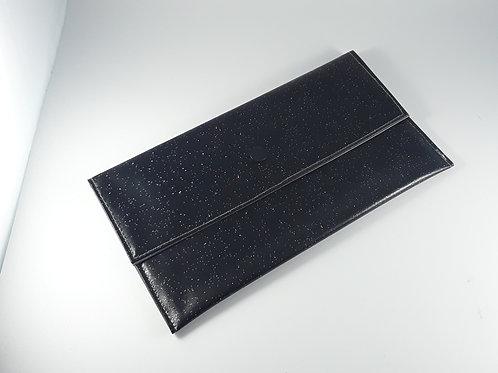 Trousse pochette à masques noire pailletée / pochette fourre tout en toile cirée