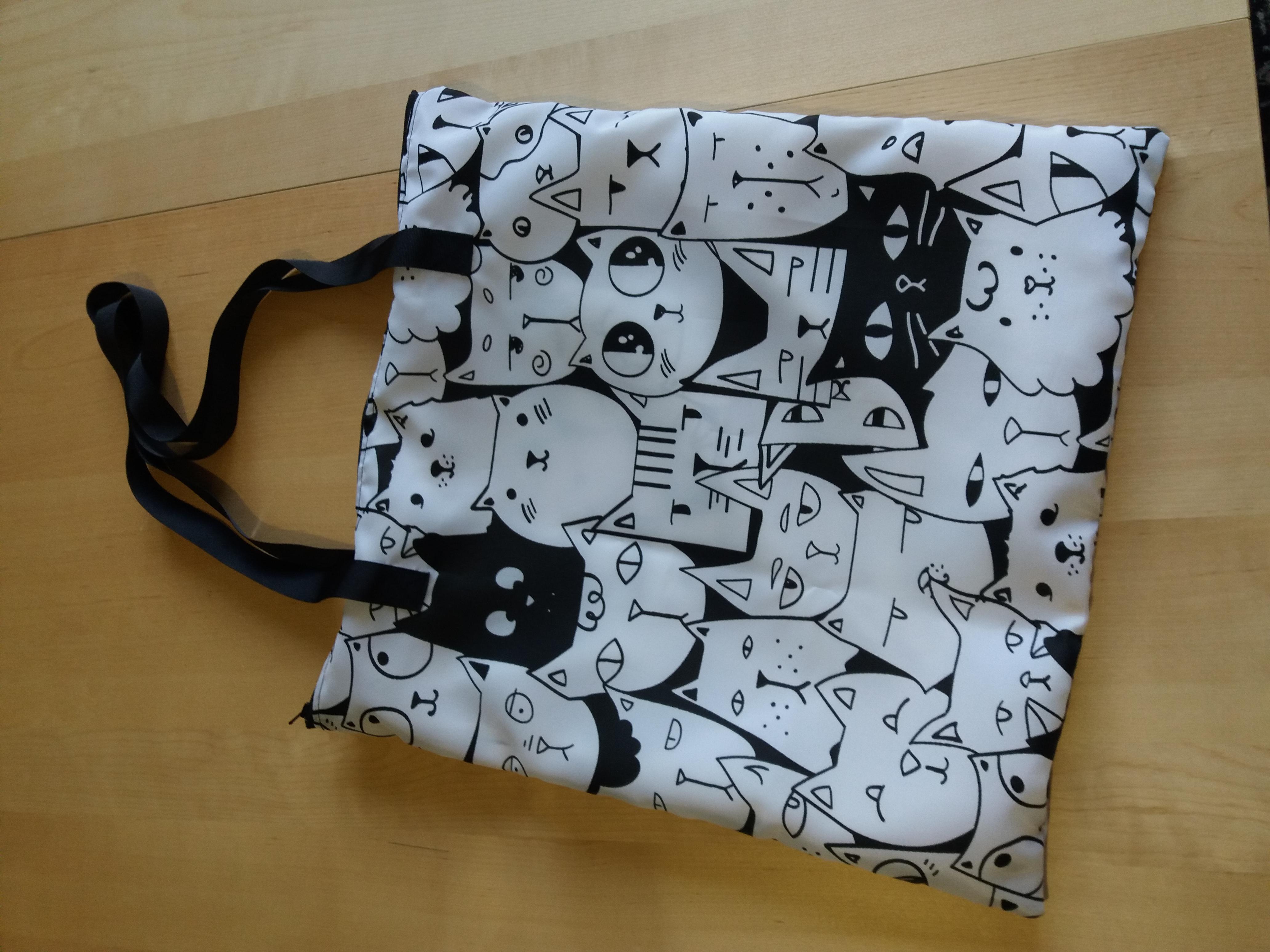 sac fourre tout zippé chat