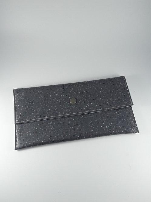 Trousse pochette à masques grise pailletée / pochette fourre tout en toile cirée