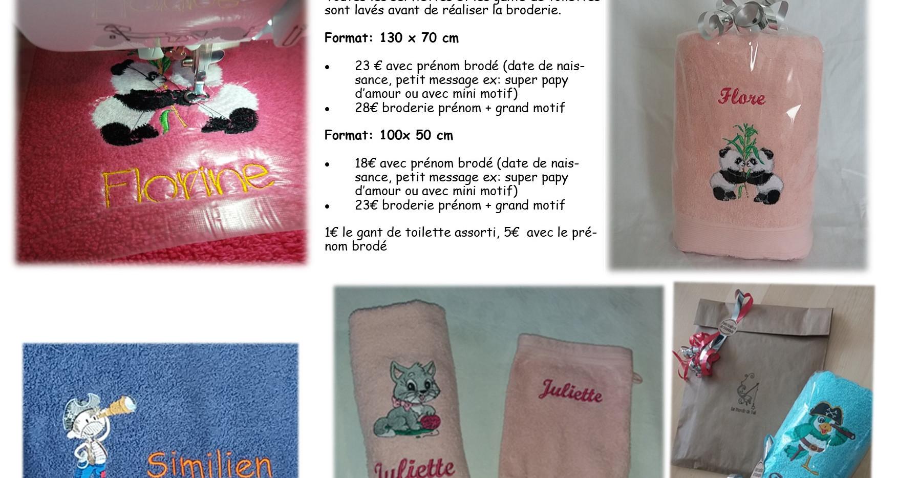 4 serviettes brodees broderie le monde d