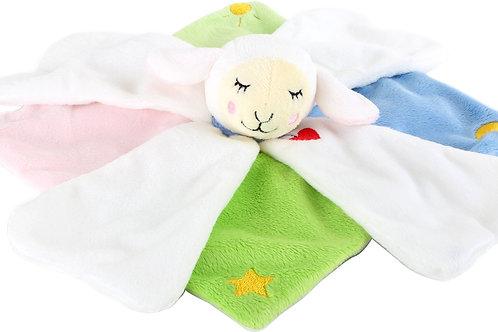 Doudou mouton Lotta, broderie du prénom sur une pétale blanche