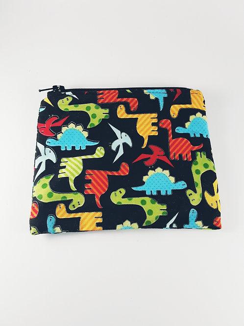 Porte monnaie tissu / petite trousse zippée dinosaures