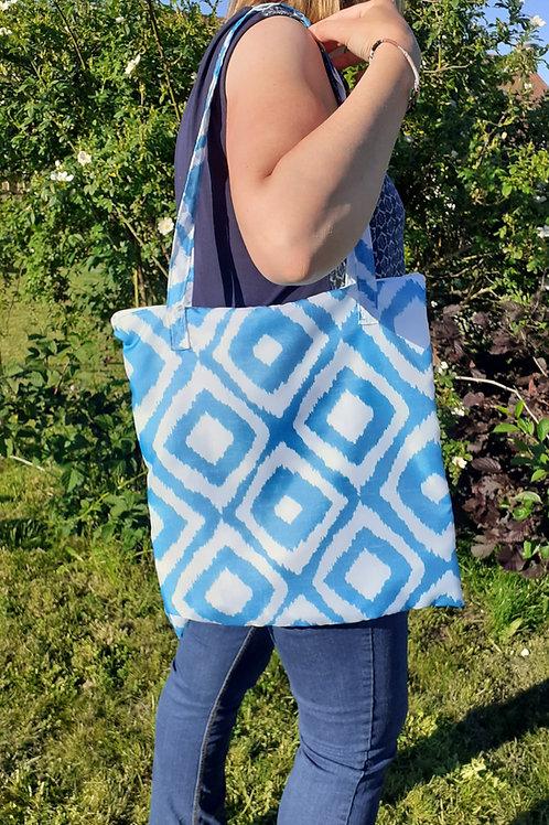 Grand sac fourre-tout zippé motif Losange bleu turquoise