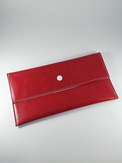 Trousse pochette à masques rouge pailletée / pochette fourre tout en toile cirée