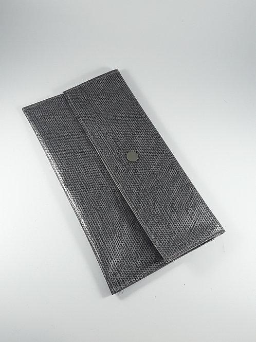 Trousse pochette / pochette grise fourre tout en tout en toile cirée