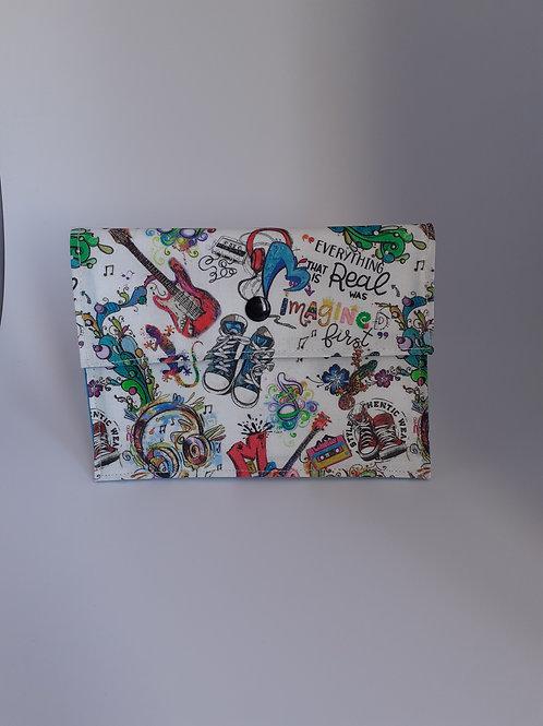 Pochette médium  en toile enduite pop art rock basket