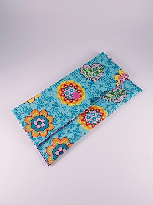 Trousse pochette fourre tout en toile enduite bleu turquoise