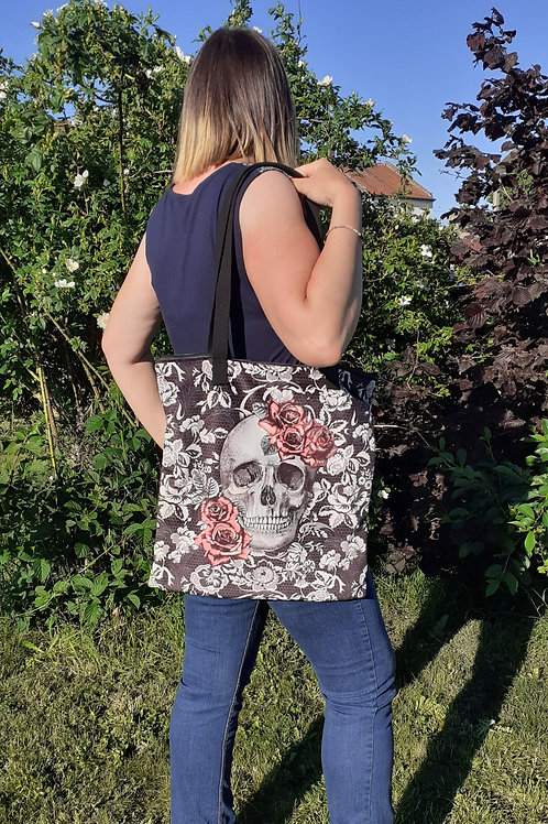 Grand sac fourre-tout zippé Calaveras crâne vanités roses et papillon en velours