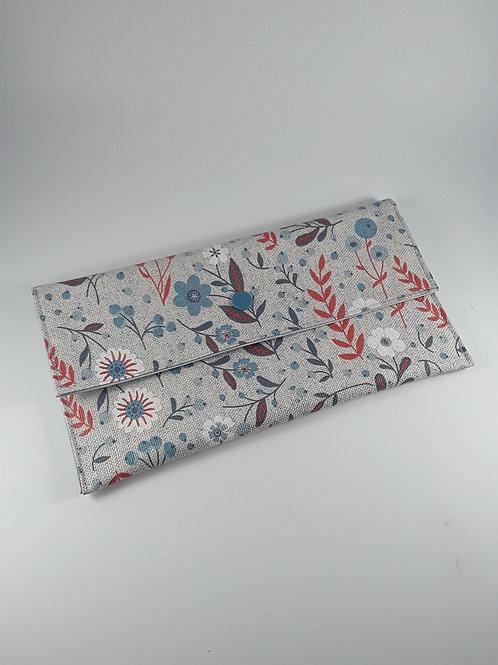 Trousse pochette à masques fleurs / pochette fourre tout en toile enduite