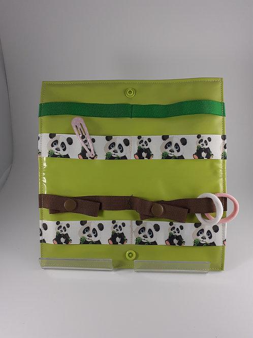 Petite pochette à pinces à cheveux, barrettes et élastiques , motif pandas