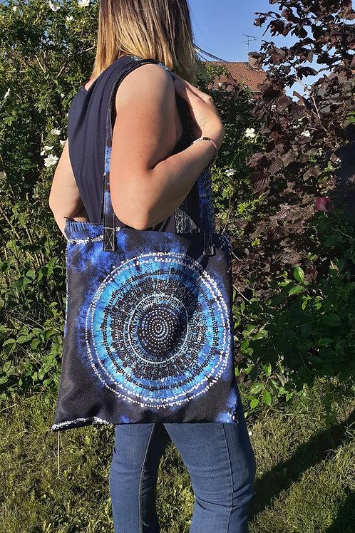 grand sac fourre-tout zippé motif psychédélique
